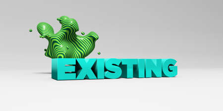 the existing: EXISTING -  color type on white studiobackground with design element - 3D rendered royalty free stock picture. This image can be used for an online website banner ad or a print postcard.