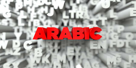ARABIC -  Red text on typography background - 3D rendered royalty free stock image. This image can be used for an online website banner ad or a print postcard.