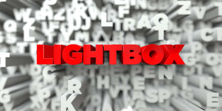 LIGHTBOX -  Red text on typography background - 3D rendered royalty free stock image. This image can be used for an online website banner ad or a print postcard. Stock Photo