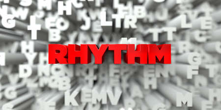 RHYTHM -  Red text on typography background - 3D rendered royalty free stock image. This image can be used for an online website banner ad or a print postcard. Stock Photo