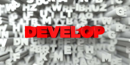 DEVELOP -  Red text on typography background - 3D rendered royalty free stock image. This image can be used for an online website banner ad or a print postcard.