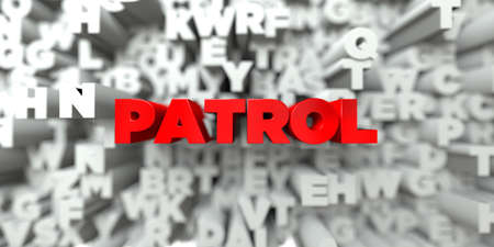 patrol: PATROL -  Red text on typography background - 3D rendered royalty free stock image. This image can be used for an online website banner ad or a print postcard. Stock Photo