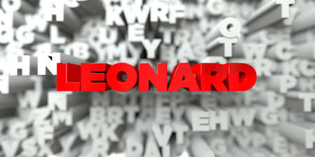 leonard: LEONARD -  Red text on typography background - 3D rendered royalty free stock image. This image can be used for an online website banner ad or a print postcard. Stock Photo