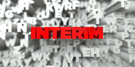 interim: INTERIM -  Red text on typography background - 3D rendered royalty free stock image. This image can be used for an online website banner ad or a print postcard.