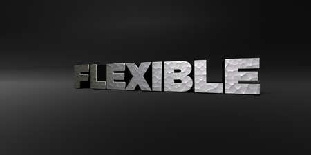 flexible: FLEXIBLE - hammered metal finish text on black studio - 3D rendered royalty free stock photo. This image can be used for an online website banner ad or a print postcard.