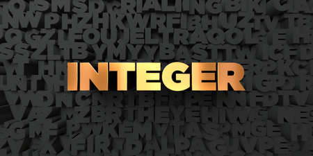 integer: Integer - Gold text on black background - 3D rendered royalty free stock picture. This image can be used for an online website banner ad or a print postcard. Stock Photo