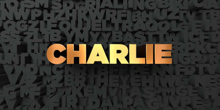 charlie: Charlie - Gold text on black background - 3D rendered royalty free stock picture. This image can be used for an online website banner ad or a print postcard.