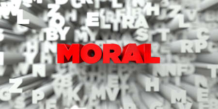 moral: MORAL -  Red text on typography background - 3D rendered royalty free stock image. This image can be used for an online website banner ad or a print postcard. Stock Photo