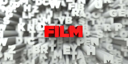 film title: FILM -  Red text on typography background - 3D rendered royalty free stock image. This image can be used for an online website banner ad or a print postcard.