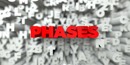 single word: PHASES -  Red text on typography background - 3D rendered royalty free stock image. This image can be used for an online website banner ad or a print postcard. Stock Photo