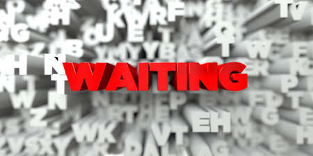 WAITING -  Red text on typography background - 3D rendered royalty free stock image. This image can be used for an online website banner ad or a print postcard.