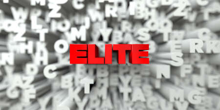 ELITE -  Red text on typography background - 3D rendered royalty free stock image. This image can be used for an online website banner ad or a print postcard.