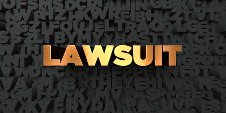 lawsuit: Lawsuit - Gold text on black background - 3D rendered royalty free stock picture. This image can be used for an online website banner ad or a print postcard.