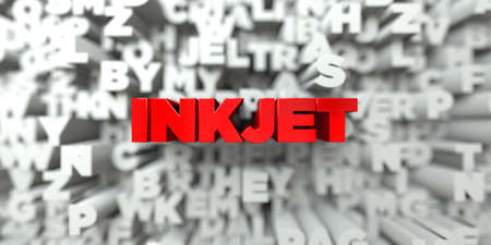 INKJET -  Red text on typography background - 3D rendered royalty free stock image. This image can be used for an online website banner ad or a print postcard.