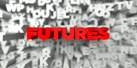 futures: FUTURES -  Red text on typography background - 3D rendered royalty free stock image. This image can be used for an online website banner ad or a print postcard.