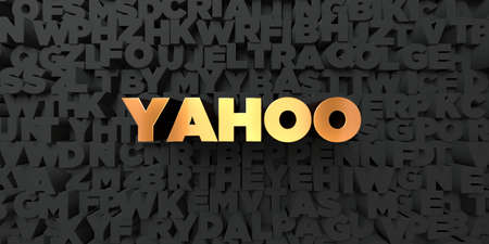 Yahoo - Gold text on black background - 3D rendered royalty free stock picture. This image can be used for an online website banner ad or a print postcard.