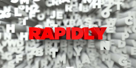 rapidly: RAPIDLY -  Red text on typography background - 3D rendered royalty free stock image. This image can be used for an online website banner ad or a print postcard.