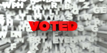 voted: VOTED -  Red text on typography background - 3D rendered royalty free stock image. This image can be used for an online website banner ad or a print postcard. Stock Photo