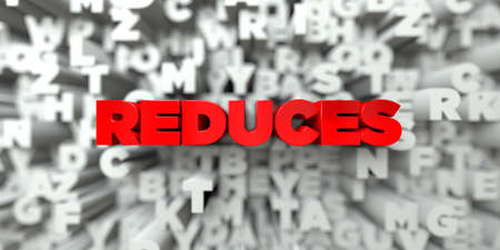 reduces: REDUCES -  Red text on typography background - 3D rendered royalty free stock image. This image can be used for an online website banner ad or a print postcard.