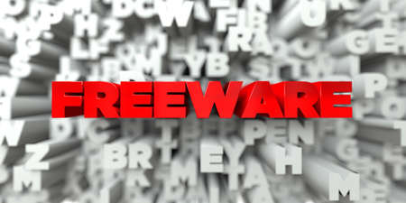 freeware: FREEWARE -  Red text on typography background - 3D rendered royalty free stock image. This image can be used for an online website banner ad or a print postcard. Stock Photo