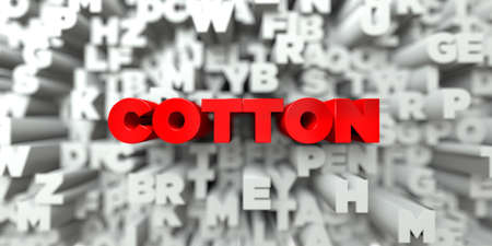 COTTON -  Red text on typography background - 3D rendered royalty free stock image. This image can be used for an online website banner ad or a print postcard. Stock Photo