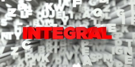 INTEGRAL -  Red text on typography background - 3D rendered royalty free stock image. This image can be used for an online website banner ad or a print postcard.