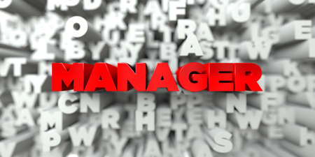 3d manager: MANAGER -  Red text on typography background - 3D rendered royalty free stock image. This image can be used for an online website banner ad or a print postcard.
