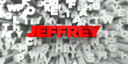 jeffrey: JEFFREY -  Red text on typography background - 3D rendered royalty free stock image. This image can be used for an online website banner ad or a print postcard.