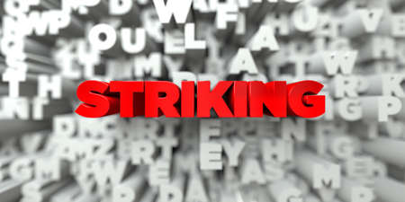 STRIKING -  Red text on typography background - 3D rendered royalty free stock image. This image can be used for an online website banner ad or a print postcard.