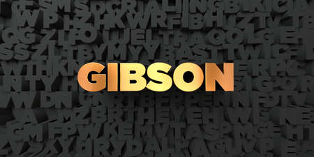 gibson: Gibson - Gold text on black background - 3D rendered royalty free stock picture. This image can be used for an online website banner ad or a print postcard.