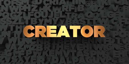 creador: Creador - Texto del oro sobre fondo negro - 3D representa la imagen de stock libres de derechos. Esta imagen se puede utilizar para un anuncio bandera del Web site en línea o una postal de impresión. Foto de archivo