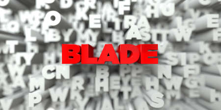 blade: BLADE -  Red text on typography background - 3D rendered royalty free stock image. This image can be used for an online website banner ad or a print postcard. Stock Photo