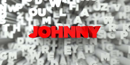JOHNNY -  Red text on typography background - 3D rendered royalty free stock image. This image can be used for an online website banner ad or a print postcard.