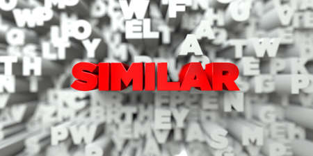 SIMILAR -  Red text on typography background - 3D rendered royalty free stock image. This image can be used for an online website banner ad or a print postcard. Stock Photo