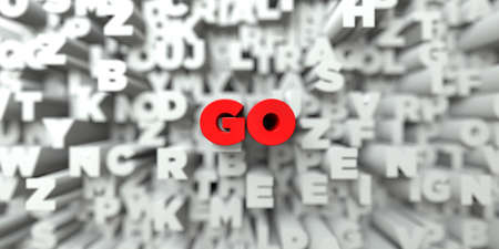 free stock: GO -  Red text on typography background - 3D rendered royalty free stock image. This image can be used for an online website banner ad or a print postcard. Stock Photo
