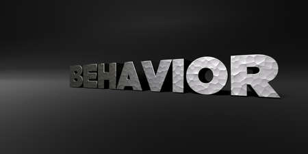 behavior: BEHAVIOR - hammered metal finish text on black studio - 3D rendered royalty free stock photo. This image can be used for an online website banner ad or a print postcard.