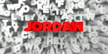 JORDANIÃ‹ - Rode tekst op typografieachtergrond - 3D teruggegeven royalty vrij voorraadbeeld. Deze afbeelding kan worden gebruikt voor een online-banneradvertentie of een prentkaart.