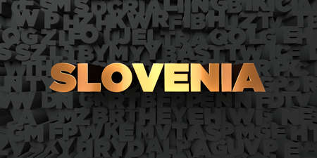 Slovenia - Gold text on black background - 3D rendered royalty free stock picture. This image can be used for an online website banner ad or a print postcard.