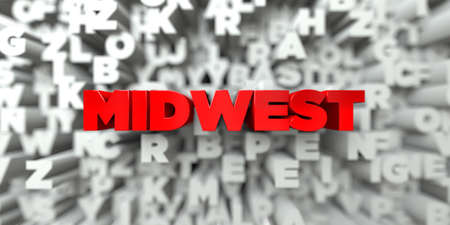 midwest: MIDWEST -  Red text on typography background - 3D rendered royalty free stock image. This image can be used for an online website banner ad or a print postcard. Stock Photo