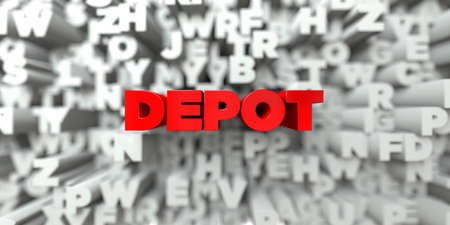 depot: DEPOT -  Red text on typography background - 3D rendered royalty free stock image. This image can be used for an online website banner ad or a print postcard.