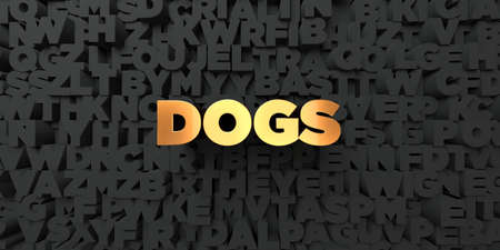 three dimensional: Dogs - Gold text on black background - 3D rendered royalty free stock picture. This image can be used for an online website banner ad or a print postcard. Stock Photo