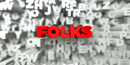 folks: FOLKS -  Red text on typography background - 3D rendered royalty free stock image. This image can be used for an online website banner ad or a print postcard. Stock Photo