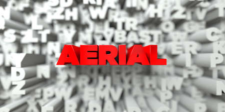 AERIAL -  Red text on typography background - 3D rendered royalty free stock image. This image can be used for an online website banner ad or a print postcard.
