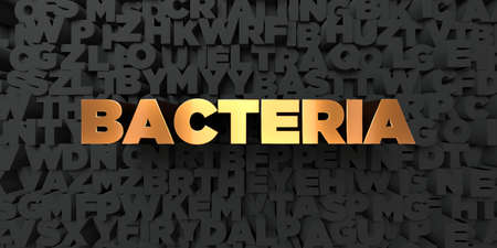Bacteria - Gold text on black background - 3D rendered royalty free stock picture. This image can be used for an online website banner ad or a print postcard.