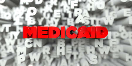 medicaid: MEDICAID -  Red text on typography background - 3D rendered royalty free stock image. This image can be used for an online website banner ad or a print postcard.