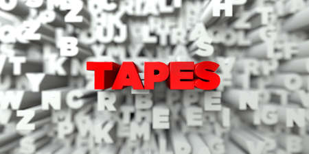 TAPES -  Red text on typography background - 3D rendered royalty free stock image. This image can be used for an online website banner ad or a print postcard. Stock Photo