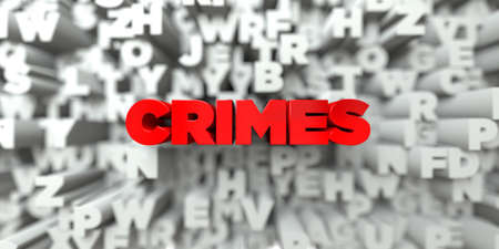 crimes: CRIMES -  Red text on typography background - 3D rendered royalty free stock image. This image can be used for an online website banner ad or a print postcard.