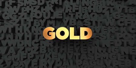 single word: Gold - Gold text on black background - 3D rendered royalty free stock picture. This image can be used for an online website banner ad or a print postcard.