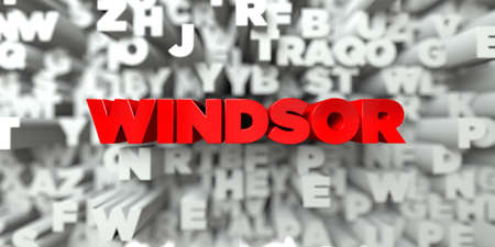 windsor: WINDSOR -  Red text on typography background - 3D rendered royalty free stock image. This image can be used for an online website banner ad or a print postcard.