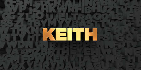keith: Keith - Gold text on black background - 3D rendered royalty free stock picture. This image can be used for an online website banner ad or a print postcard.